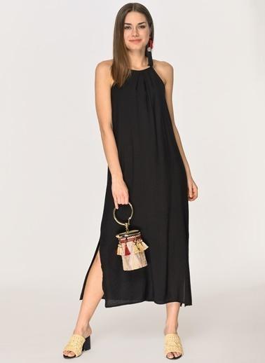 Loves You Keten Crep Kelepçe Yaka Midi Elbise Siyah